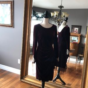 Alex Evenings  velvet dress with beaded sleeve.